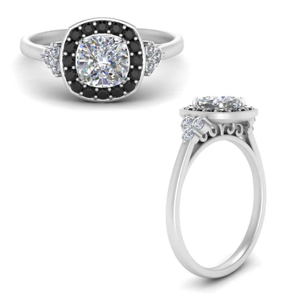 cushion-cut-halo-cluster-moissanite engagement-ring-with-black-diamond-in-FD122778CURGBLACKANGLE3-NL-WG