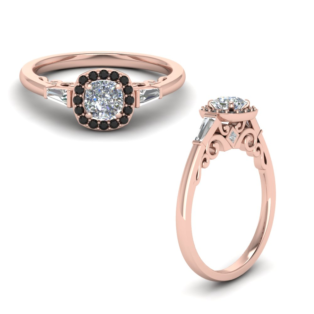 ruby halo cushion diamond engagement ring with baguette in. Black Bedroom Furniture Sets. Home Design Ideas