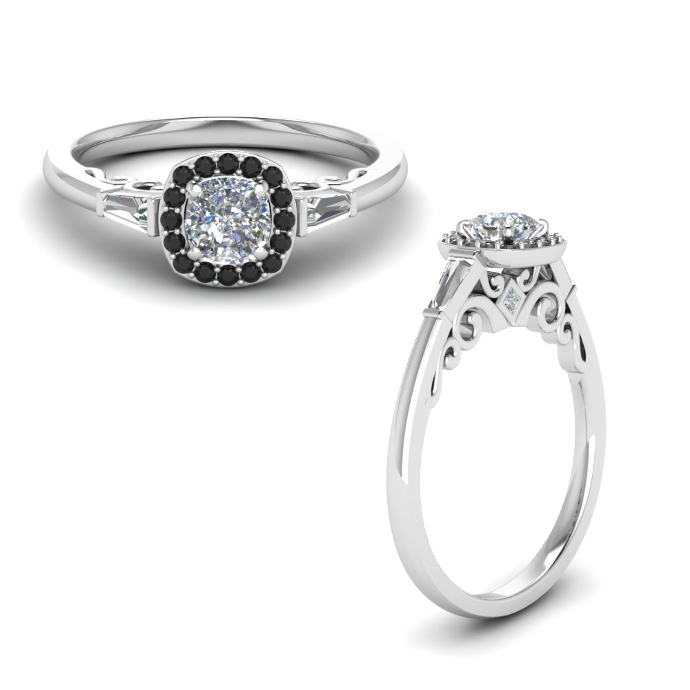 black diamond halo cushion engagement ring with baguette in FD122910CURGBLACKANGLE1 NL WG