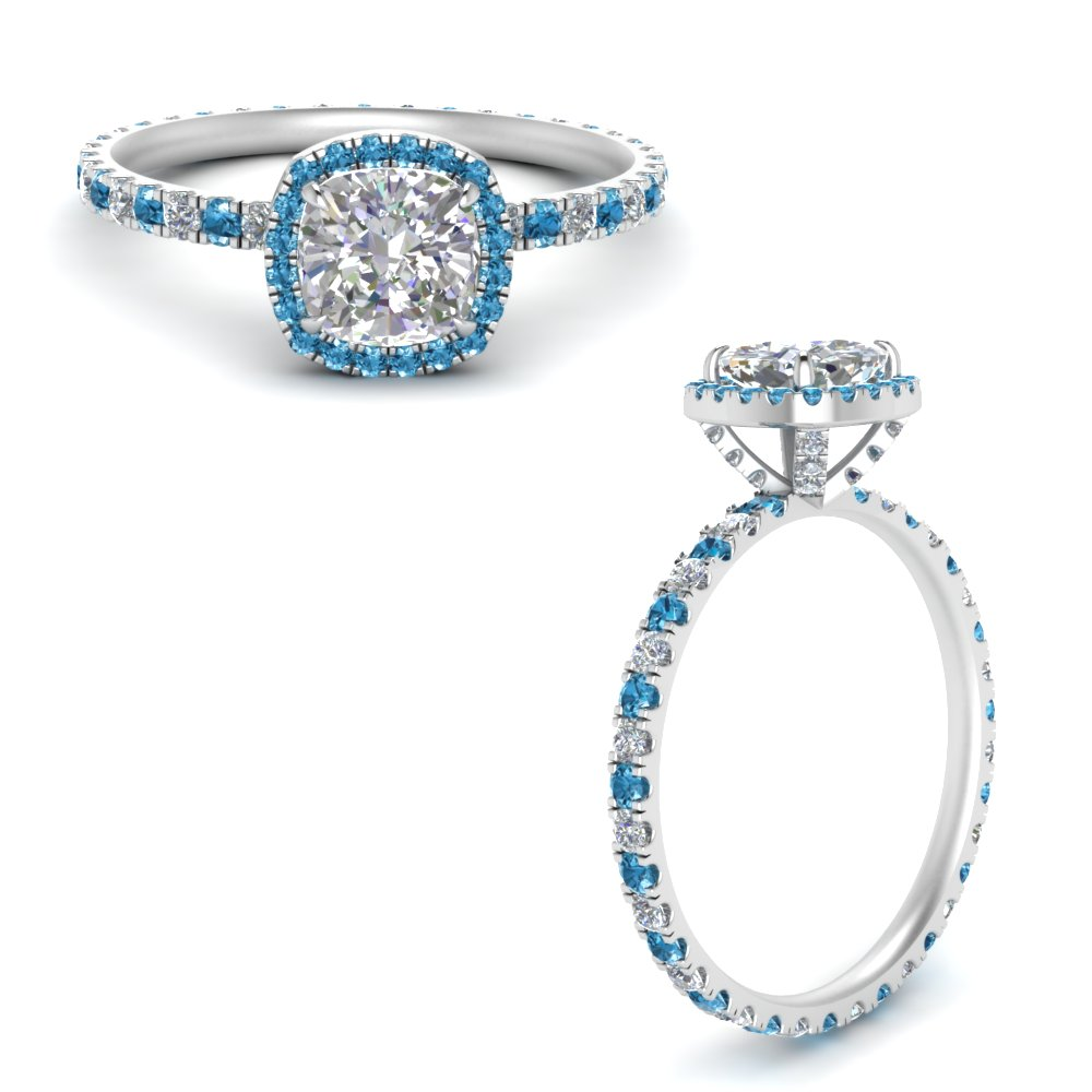 cushion-cut-halo-eternity-lab diamond-ring-with-blue-topaz-in-FD9372CURGICBLTOANGLE3-NL-WG