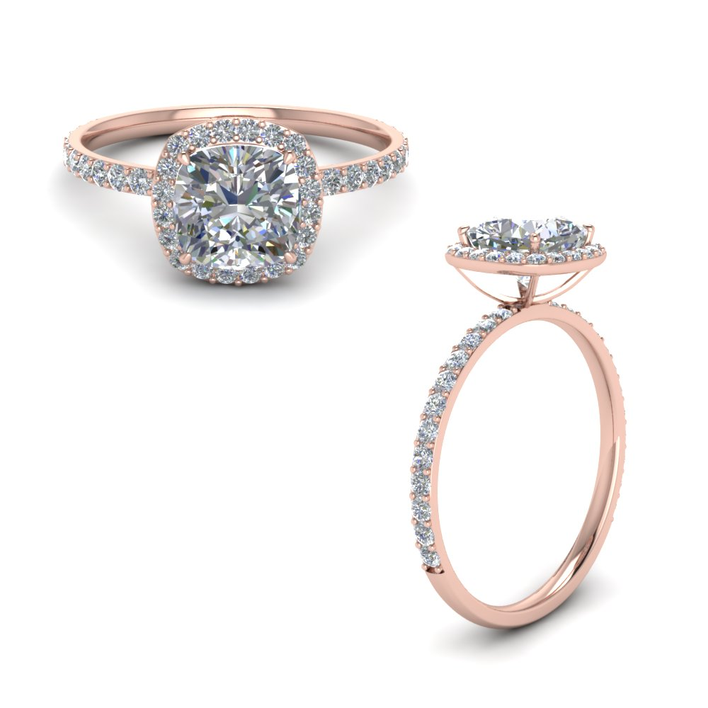 Cushion Cut Halo Petite Diamond Engagement Ring In 14K Rose Gold