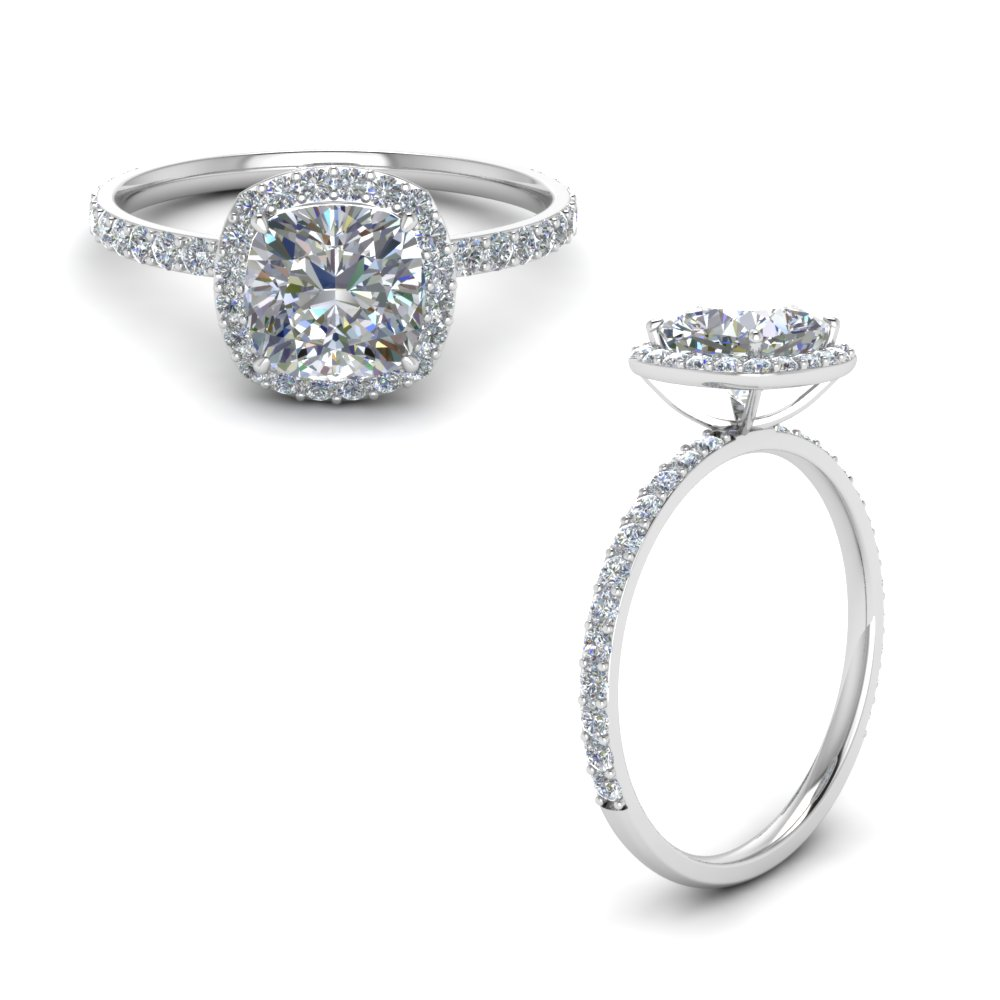 Cushion Cut Halo Petite Engagement Ring