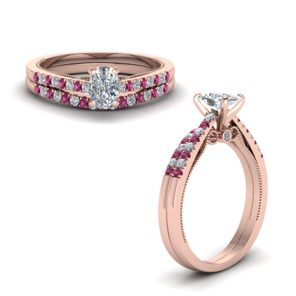Cushion Cut Pink Sapphire Wedding Sets