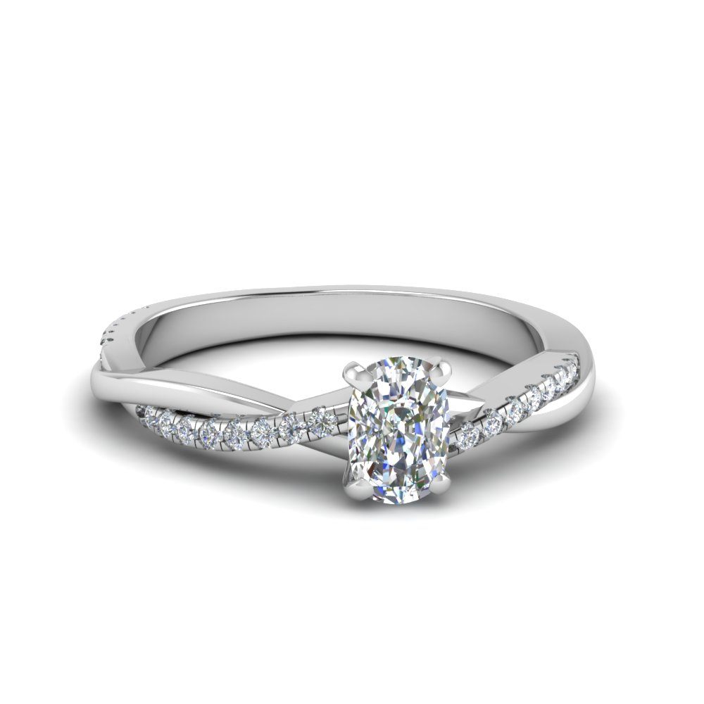 cushion cut Infinity twist diamond engagement ring in 14K white gold FD8253CUR NL WG