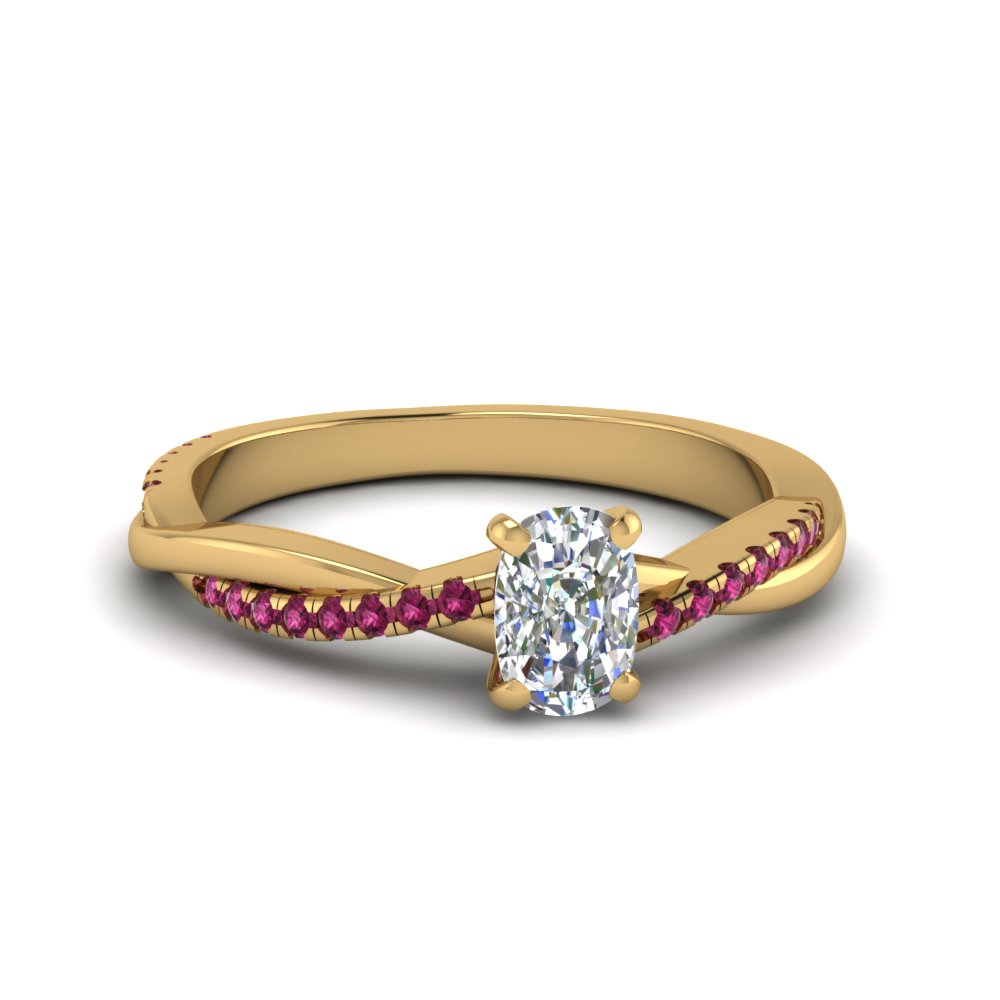 cushion cut infinity twist diamond engagement ring with pink sapphire in FD8253CURGSADRPI NL YG