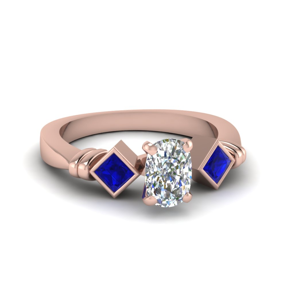 Cushion Cut & Blue Sapphire 3 Stone Diamond Rings