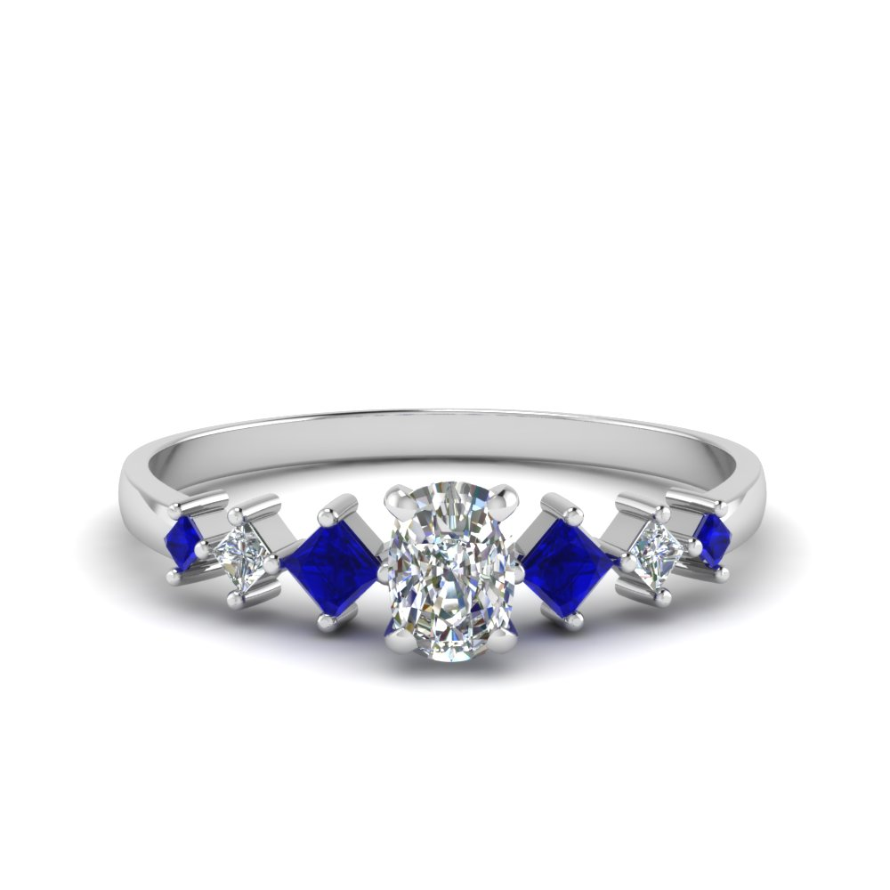 cushion cut kite set diamond ring with blue sapphire in 14K white gold FDENS3126CURGSABL NL WG