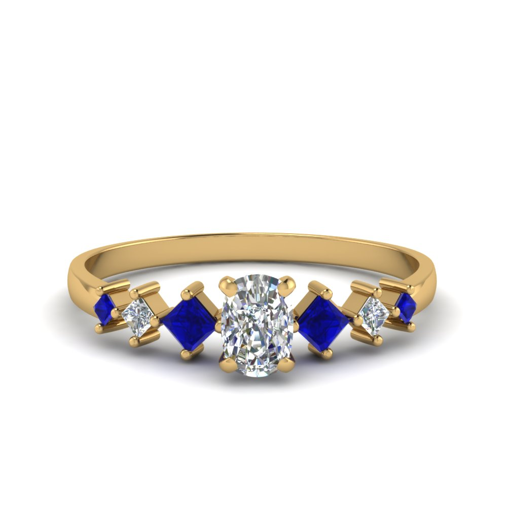 cushion cut kite set diamond ring with blue sapphire in 14K yellow gold FDENS3126CURGSABL NL YG