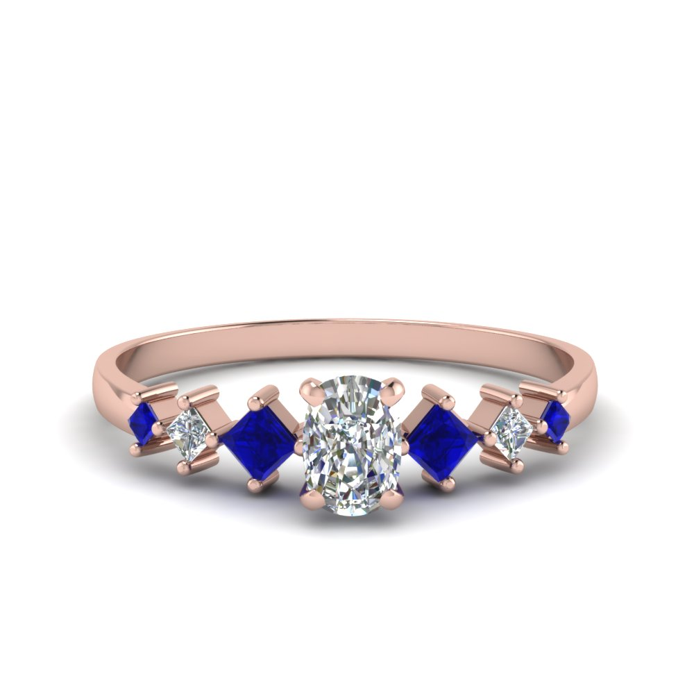 cushion cut kite set diamond ring with blue sapphire in 18K rose gold FDENS3126CURGSABL NL RG