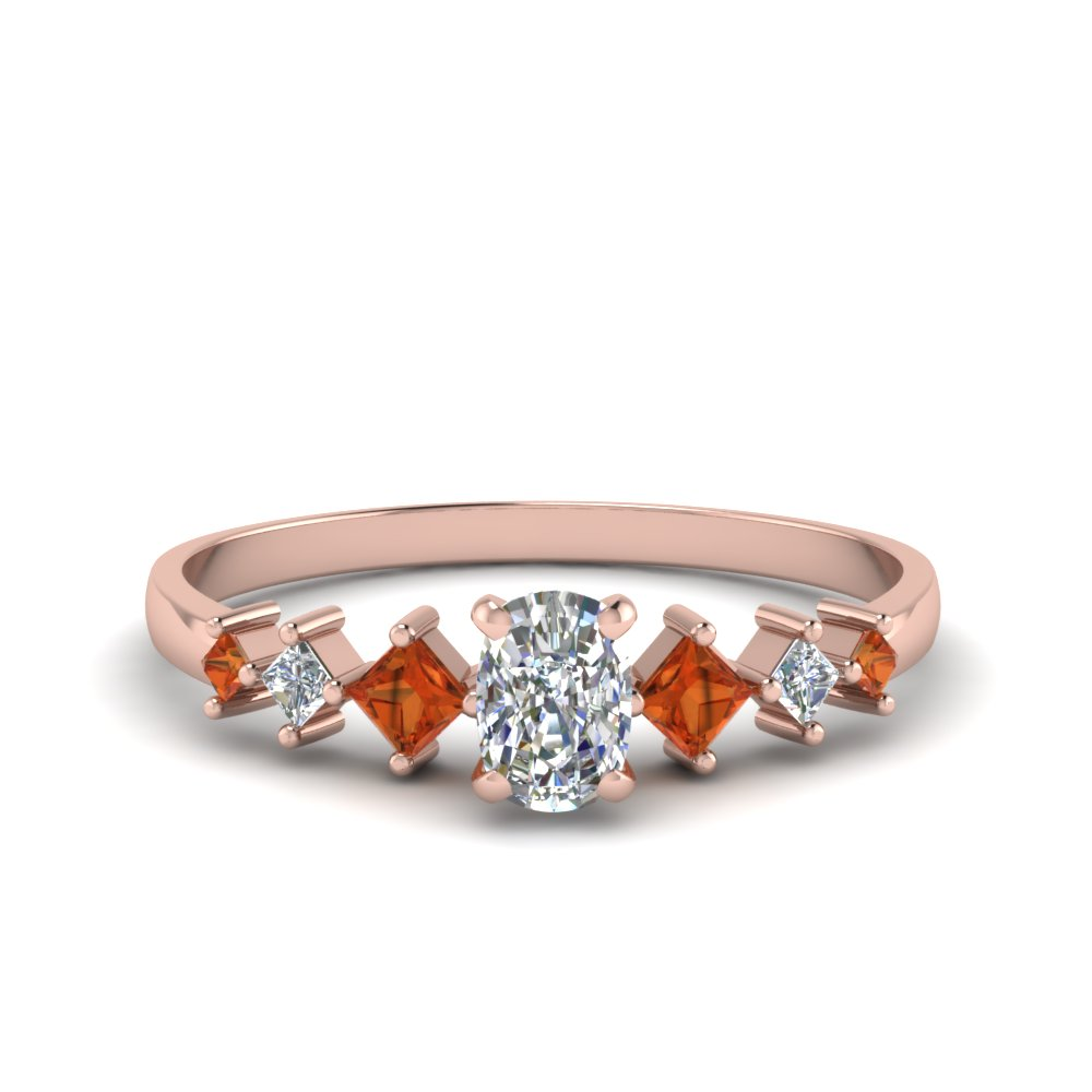 cushion cut kite set diamond ring with orange sapphire in 18K rose gold FDENS3126CURGSAOR NL RG