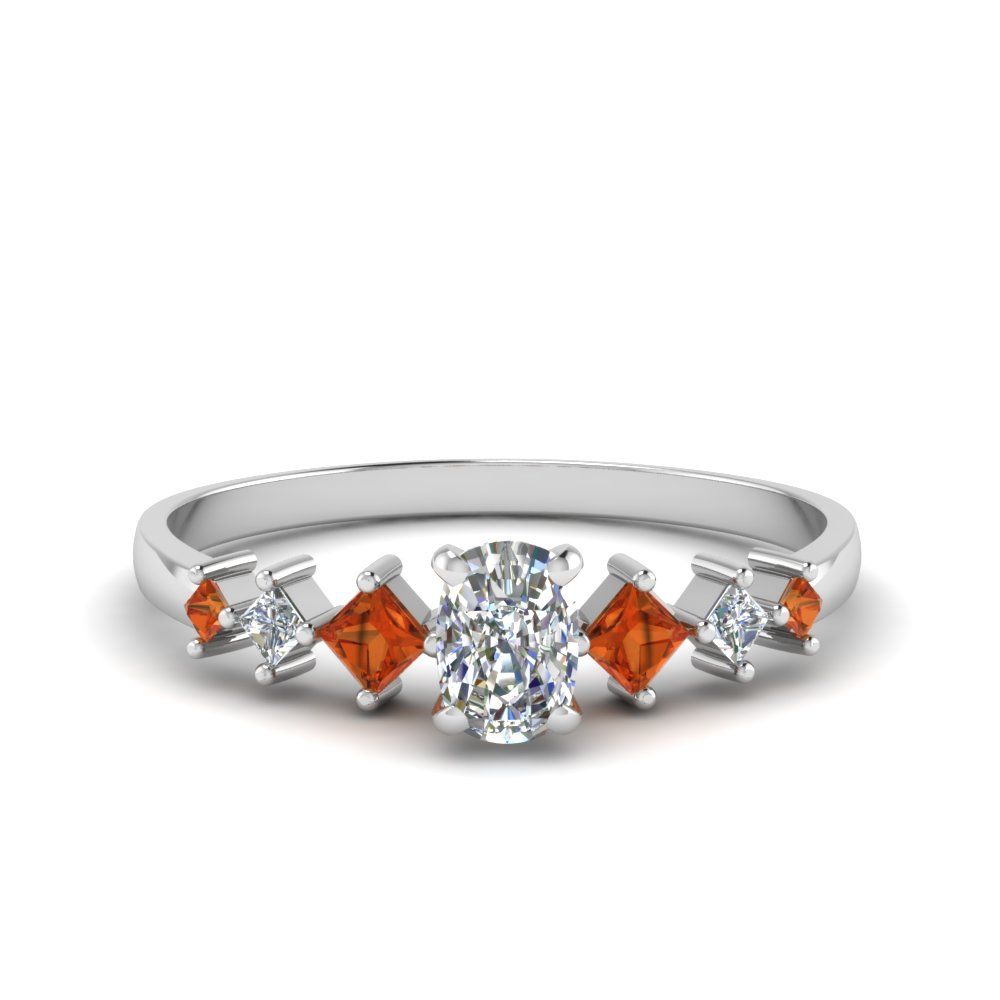 cushion cut kite set diamond ring with orange sapphire in 18K white gold FDENS3126CURGSAOR NL WG