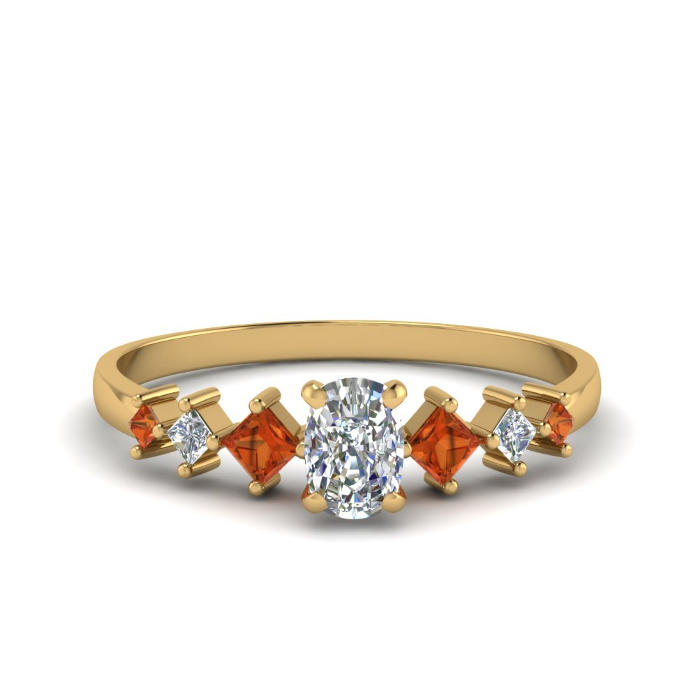 cushion cut kite set diamond ring with orange sapphire in 18K yellow gold FDENS3126CURGSAOR NL YG