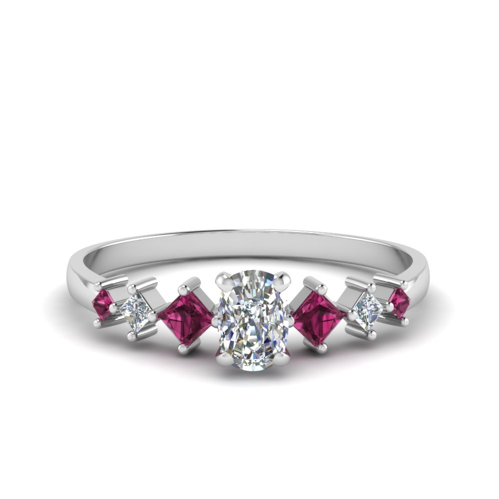cushion cut kite set diamond ring with pink sapphire in 14K white gold FDENS3126CURGSADRPI NL WG