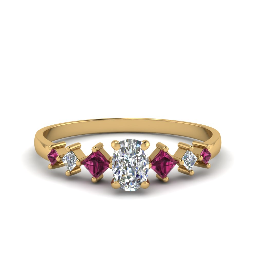 cushion cut kite set diamond ring with pink sapphire in 18K yellow gold FDENS3126CURGSADRPI NL YG