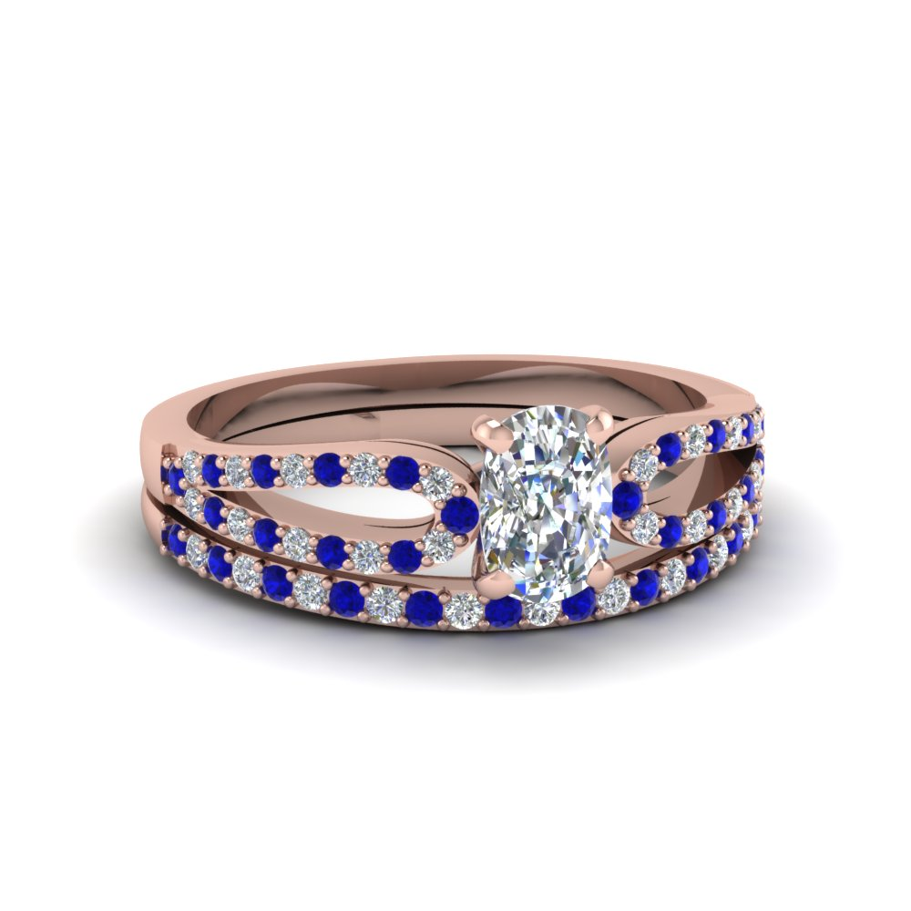 cushion cut loop diamond ring with sapphire matching band in 14K rose gold FDENS3323CUGSABL NL RG