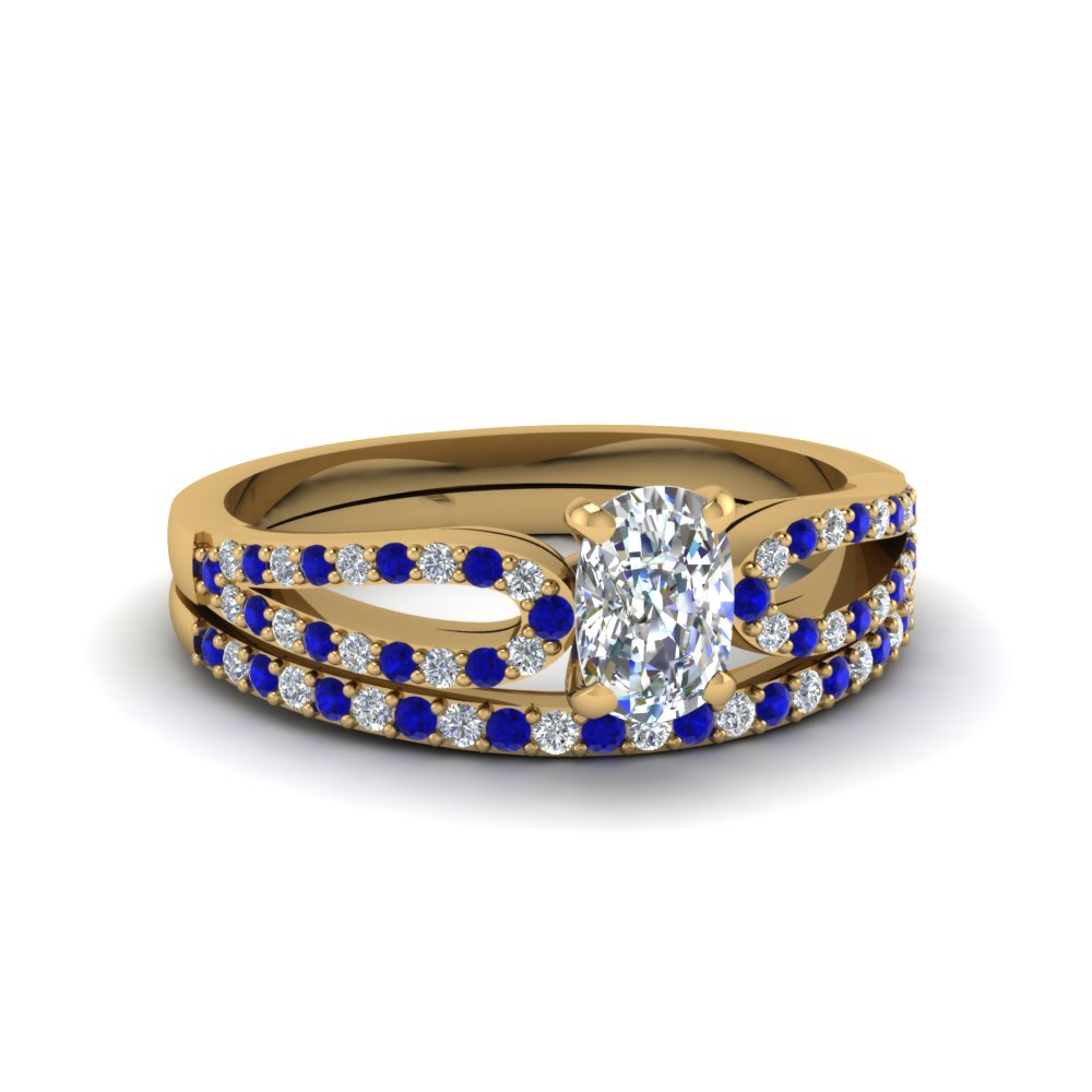 cushion cut loop diamond ring with sapphire matching band in 14K yellow gold FDENS3323CUGSABL NL YG