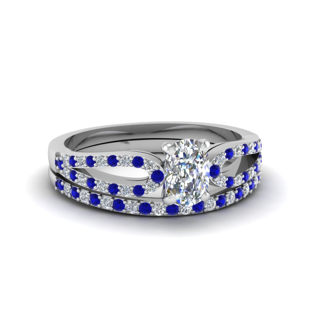 cushion cut loop diamond ring with sapphire matching band in 950 platinum FDENS3323CUGSABL NL WG