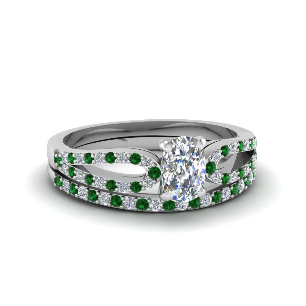 cushion cut loop diamond ring with emerald matching band in 18K white gold FDENS3323CUGEMGR NL WG