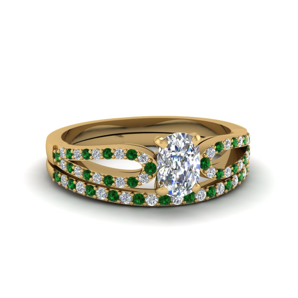 cushion cut loop diamond ring with emerald matching band in 18K yellow gold FDENS3323CUGEMGR NL YG