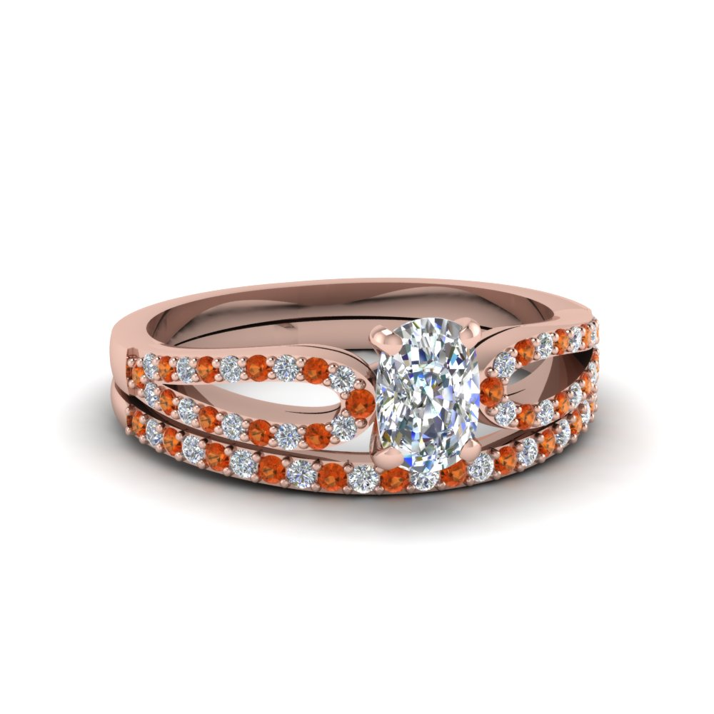 cushion cut loop diamond ring with orange sapphire matching band in 14K rose gold FDENS3323CUGSAOR NL RG