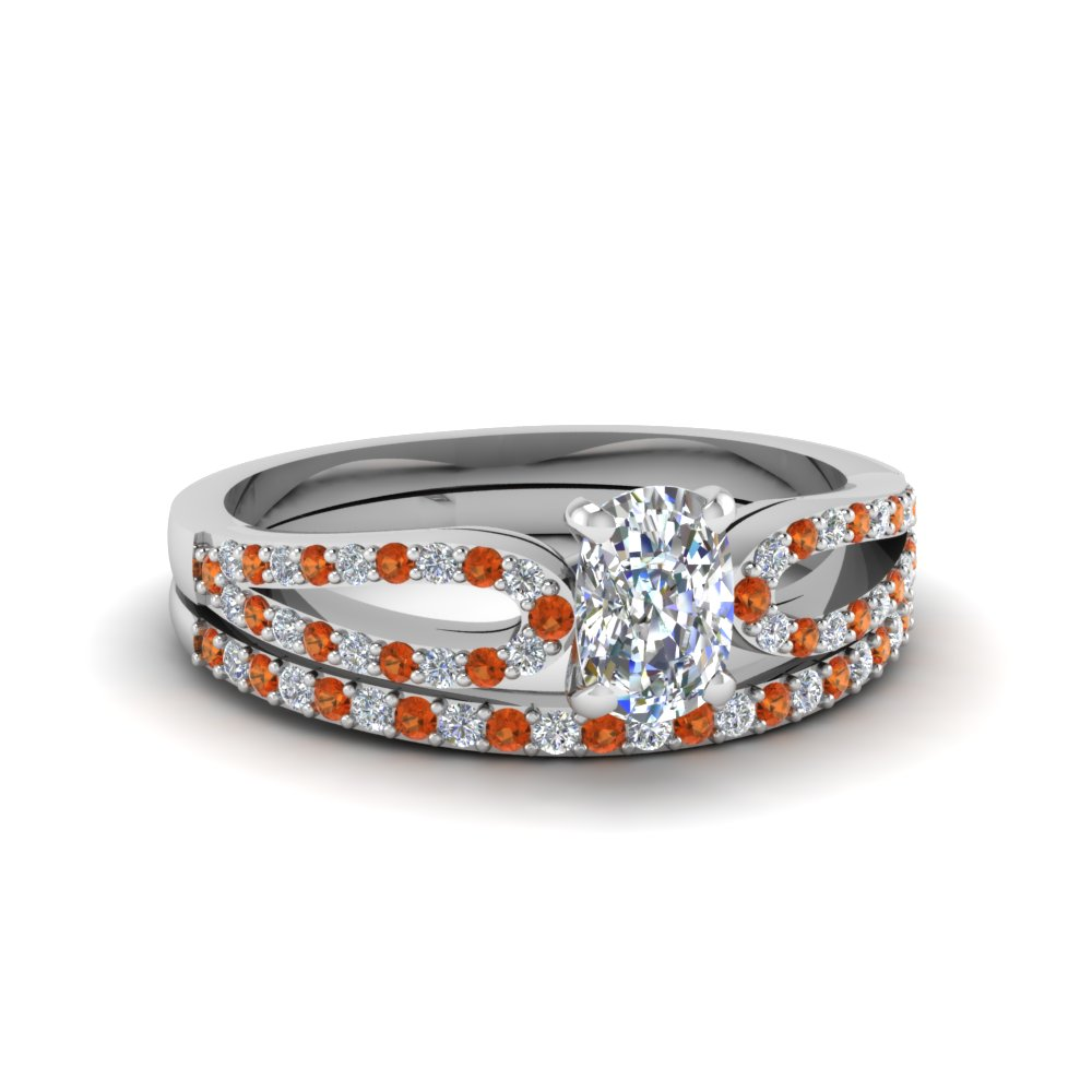cushion cut loop diamond ring with orange sapphire matching band in 14K white gold FDENS3323CUGSAOR NL WG
