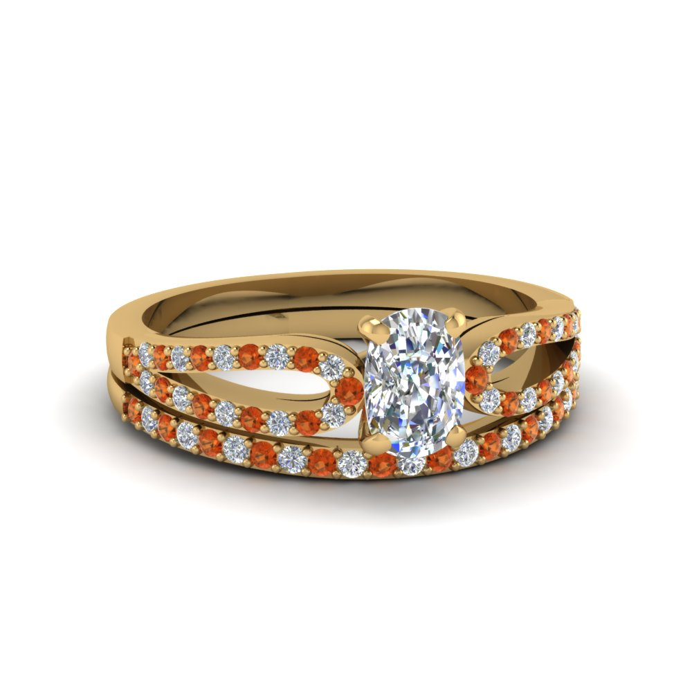 cushion cut loop diamond ring with orange sapphire matching band in 14K yellow gold FDENS3323CUGSAOR NL YG