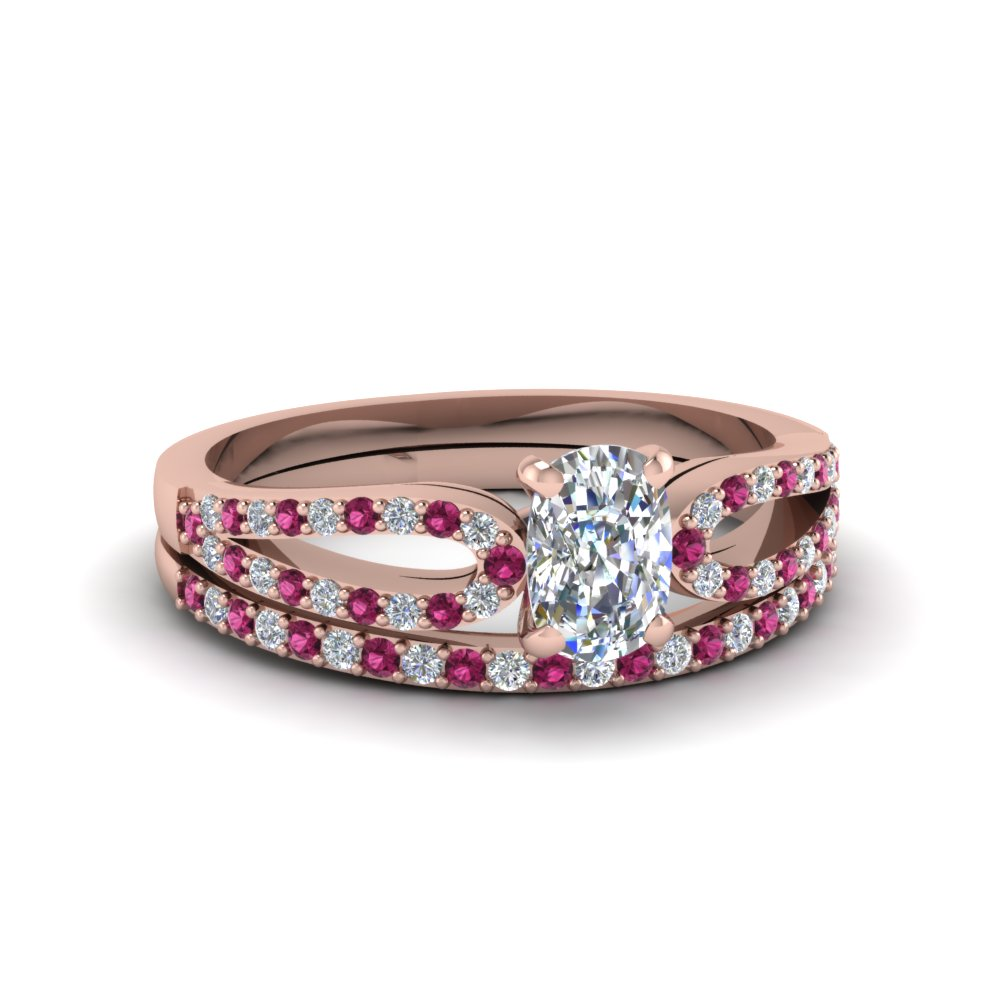 cushion cut loop diamond ring with pink sapphire matching band in 14K rose gold FDENS3323CUGSADRPI NL RG