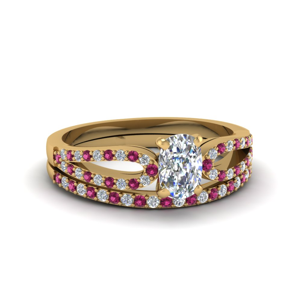 cushion cut loop diamond ring with pink sapphire matching band in 14K yellow gold FDENS3323CUGSADRPI NL YG