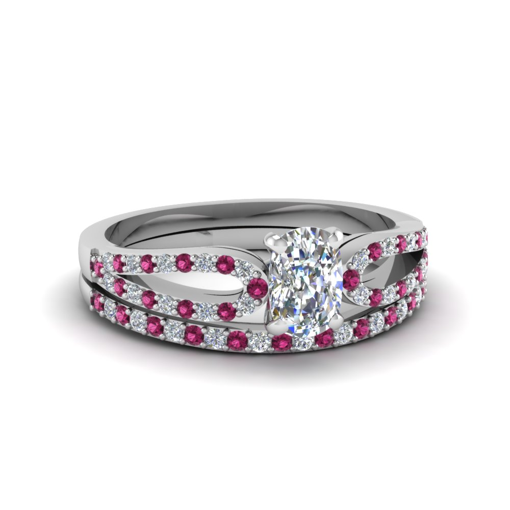 cushion cut loop diamond ring with pink sapphire matching band in 950 platinum FDENS3323CUGSADRPI NL WG