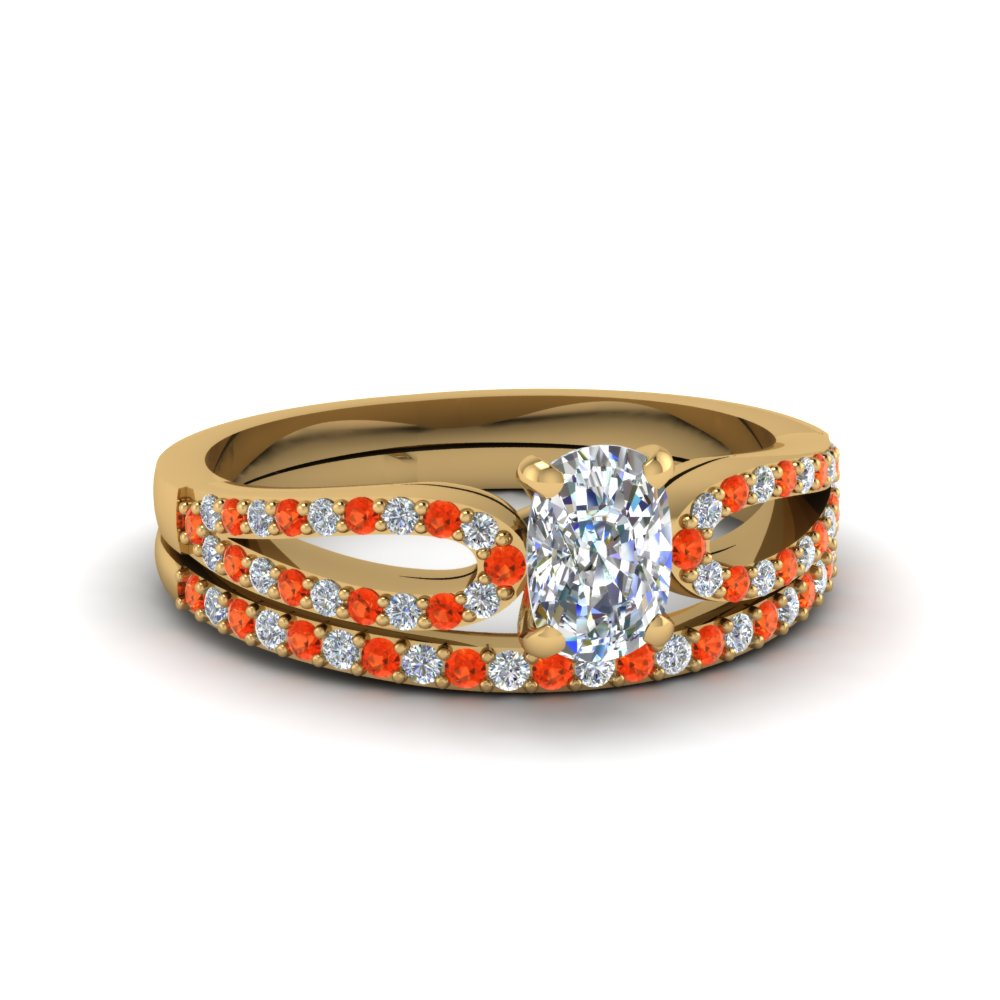cushion cut loop diamond ring with orange topaz matching band in 14K yellow gold FDENS3323CUGPOTO NL YG