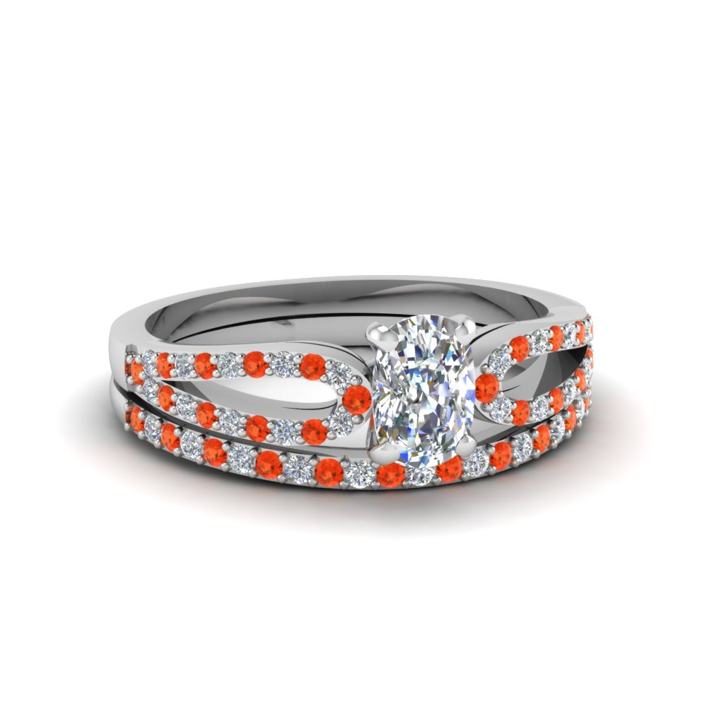 cushion cut loop diamond ring with orange topaz matching band in 18K white gold FDENS3323CUGPOTO NL WG