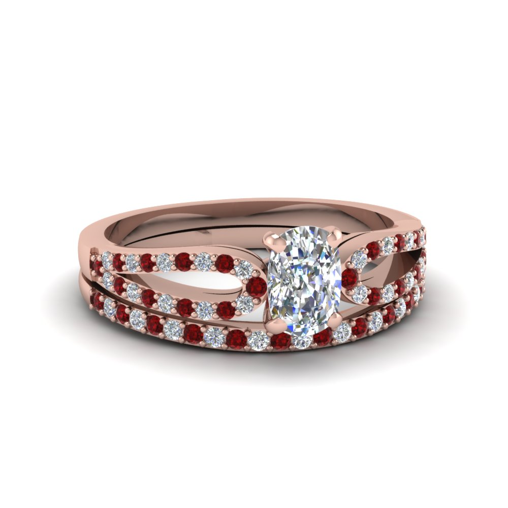 cushion cut loop diamond ring with ruby matching band in 14K rose gold FDENS3323CUGRUDR NL RG