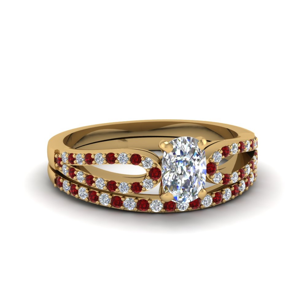 cushion cut loop diamond ring with ruby matching band in 18K yellow gold FDENS3323CUGRUDR NL YG