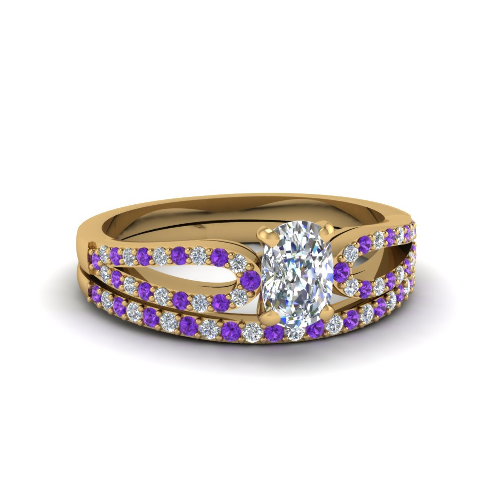 cushion cut loop diamond ring with violet topaz matching band in 18K yellow gold FDENS3323CUGVITO NL YG