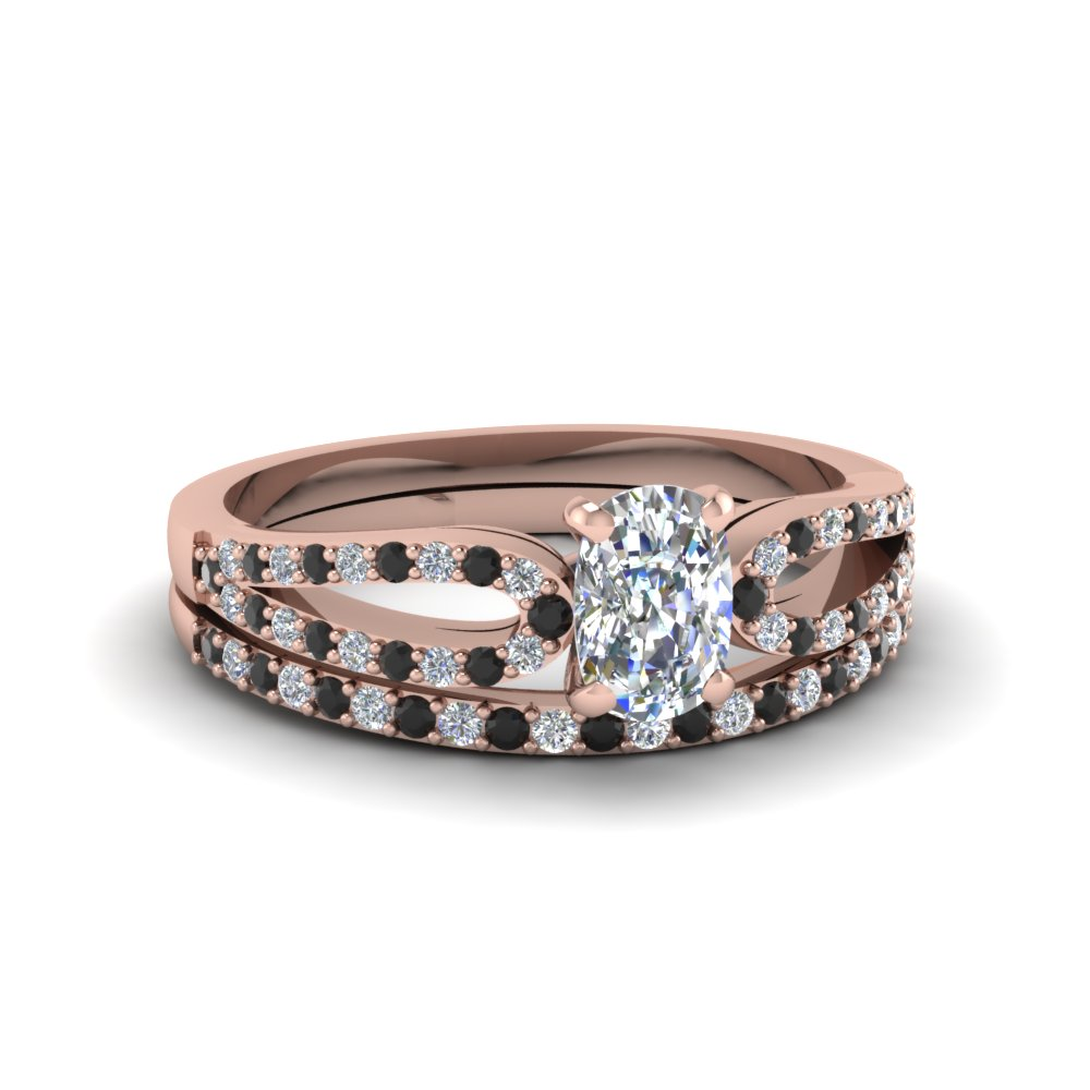 cushion cut loop ring with black diamond matching band in 14K rose gold FDENS3323CUGBLACK NL RG