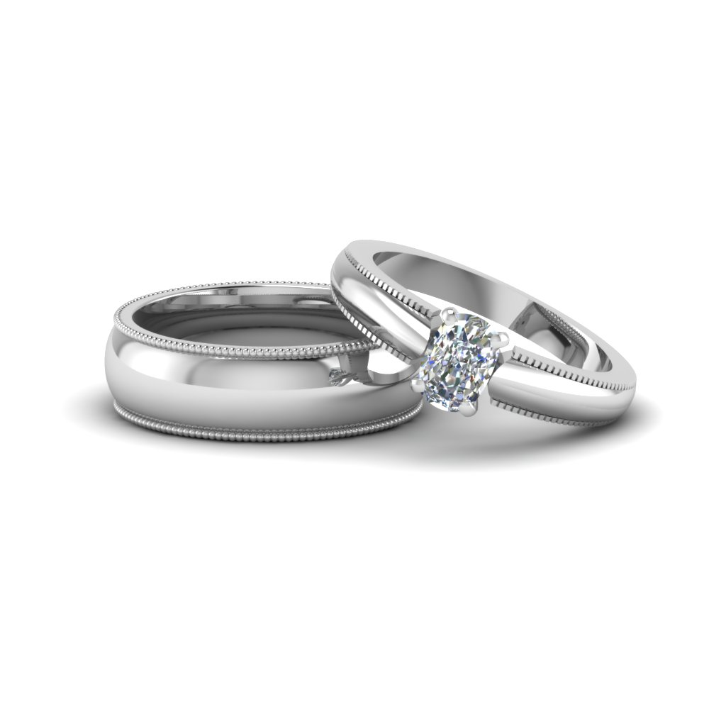 cushion cut matching wedding anniversary ring with band for him and her in 14k white gold - Wedding Rings For Her And Him