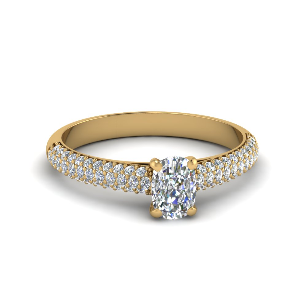 cushion cut micropave natural diamond engagement ring in 14K yellow gold FD8254CUR NL YG