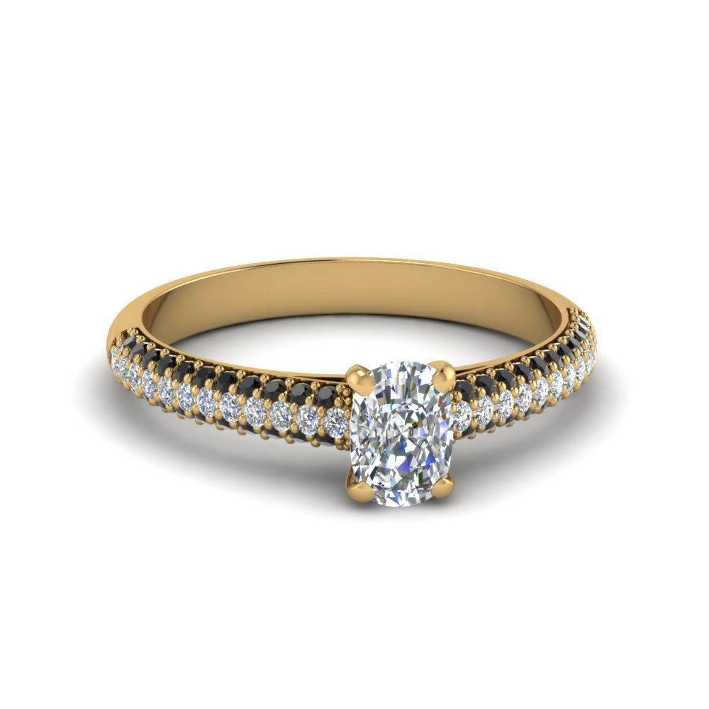 cushion cut micropave natural engagement ring with black diamond in 14K yellow gold FD8254CURGBLACK NL YG