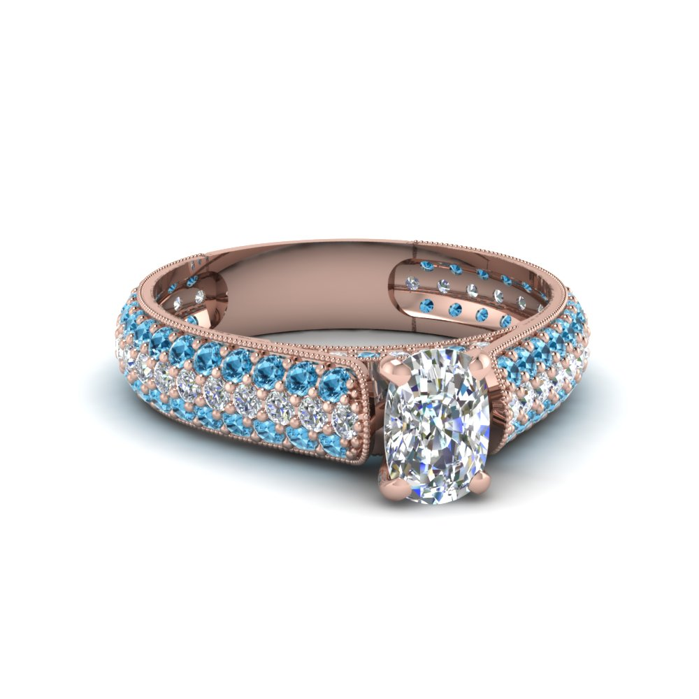 cushion cut milgrain multi row pave diamond engagement ring with blue topaz in 18K rose gold FDENS1452CURGICBLTO NL RG