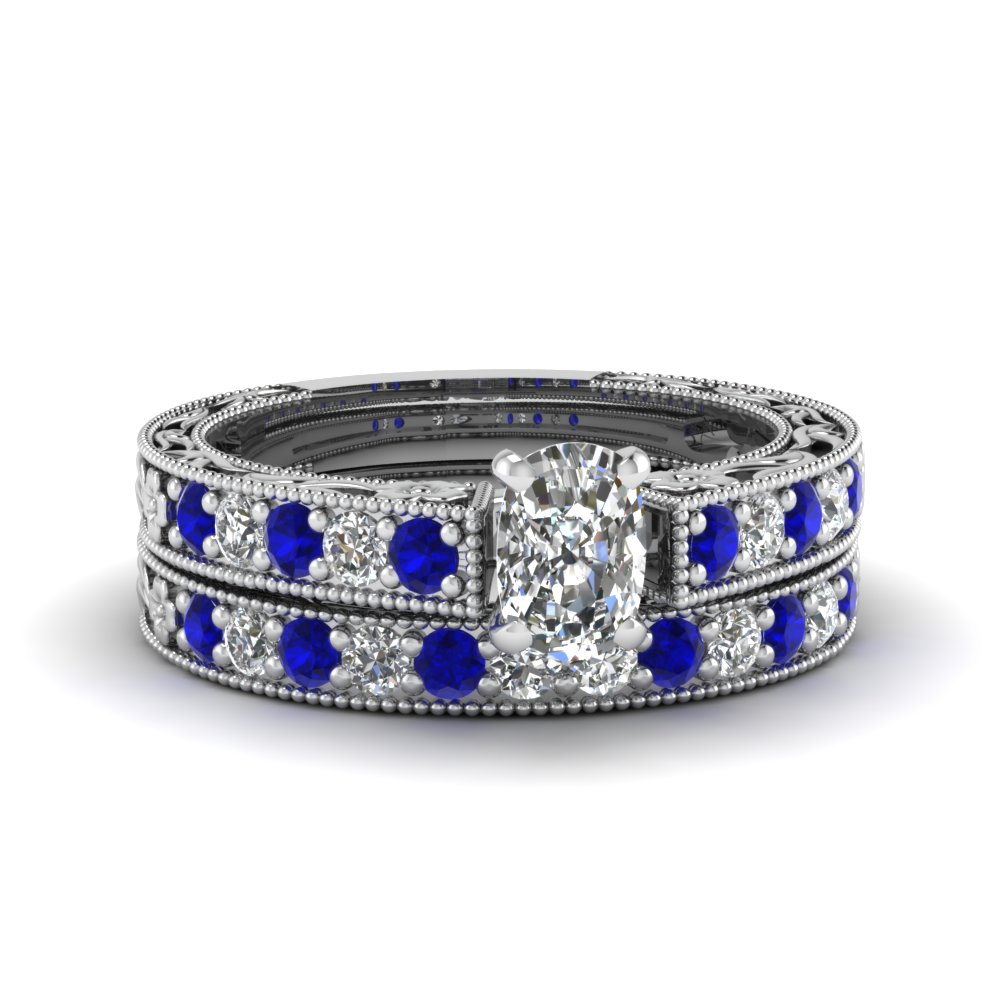 Cushion Cut Milgrain Pave Wedding Set