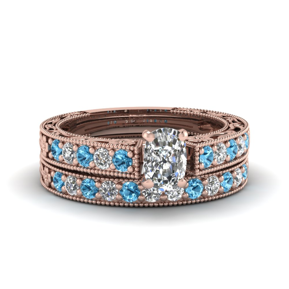 cushion cut milgrain pave lab diamond wedding ring sets with blue topaz in FDENS3506CUGICBLTO NL RG