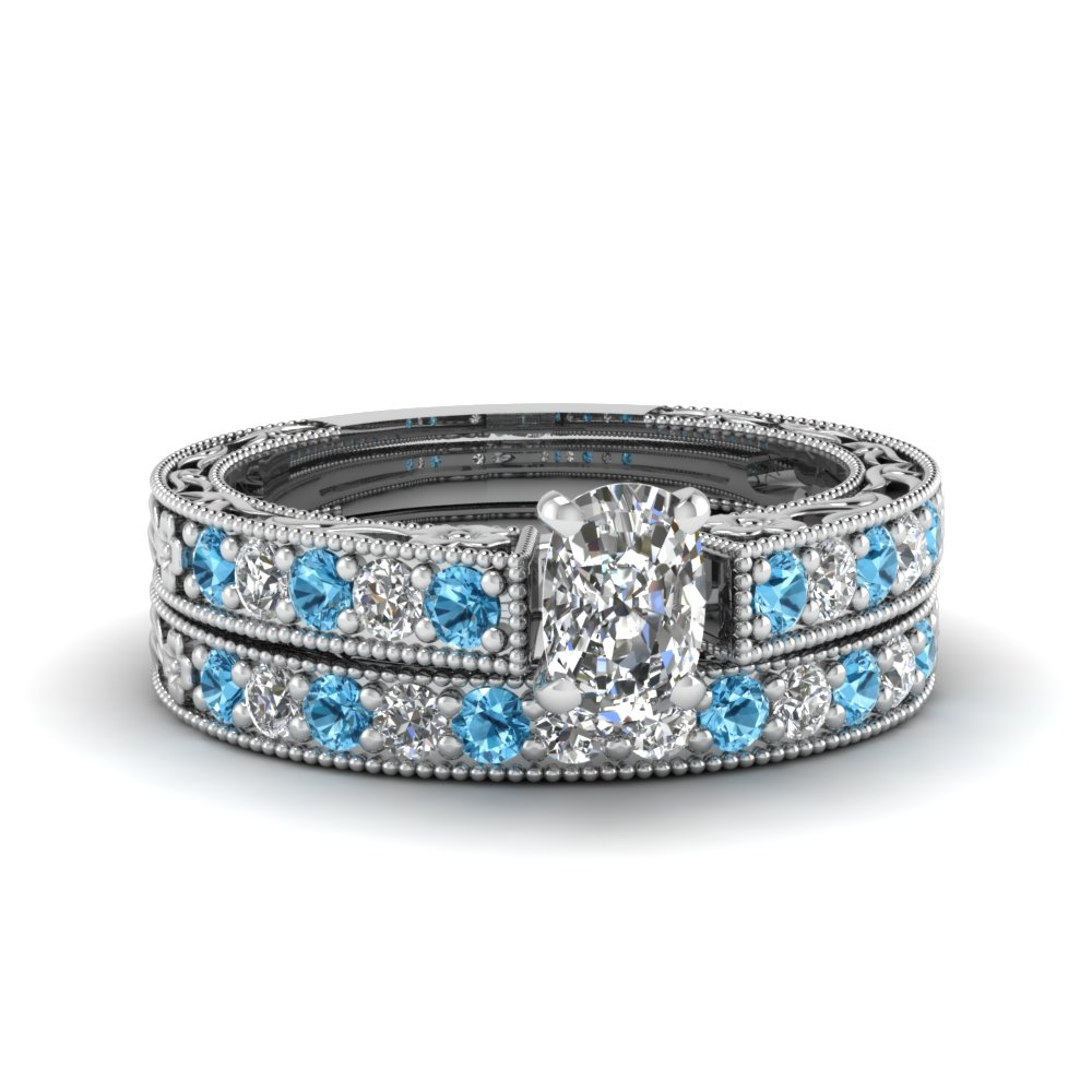 cushion cut milgrain pave lab diamond wedding ring sets with blue topaz in FDENS3506CUGICBLTO NL WG