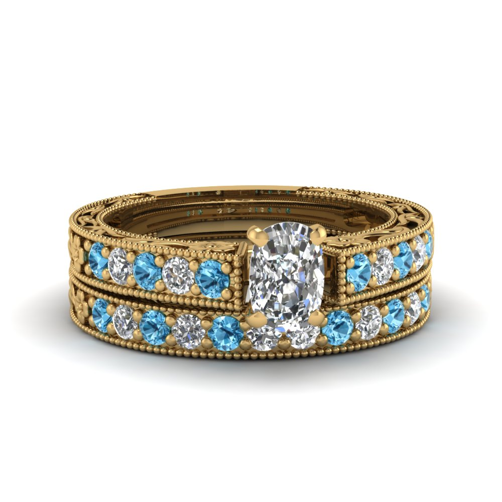 cushion cut milgrain pave lab diamond wedding ring sets with blue topaz in FDENS3506CUGICBLTO NL YG