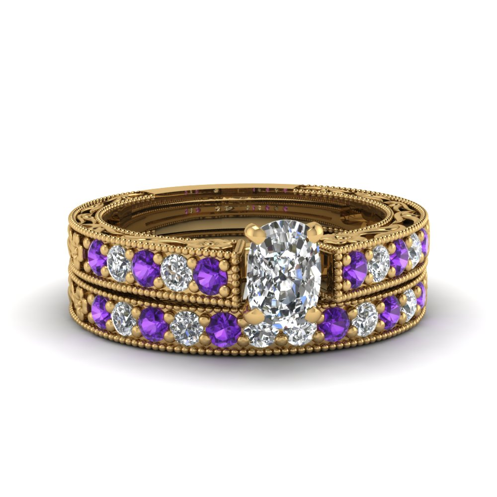 cushion cut milgrain pave moissanite wedding ring sets with purple topaz in FDENS3506CUGVITO NL YG