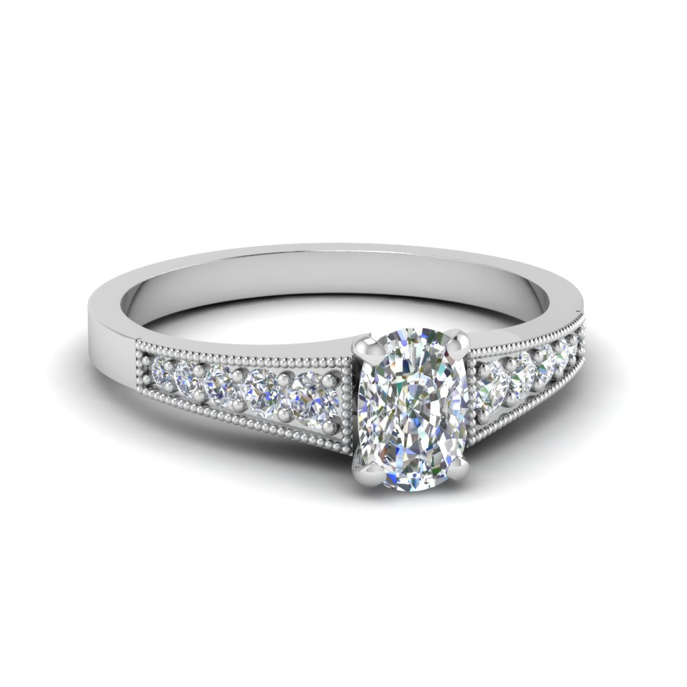 Pave Set Cushion Cut Diamond Ring