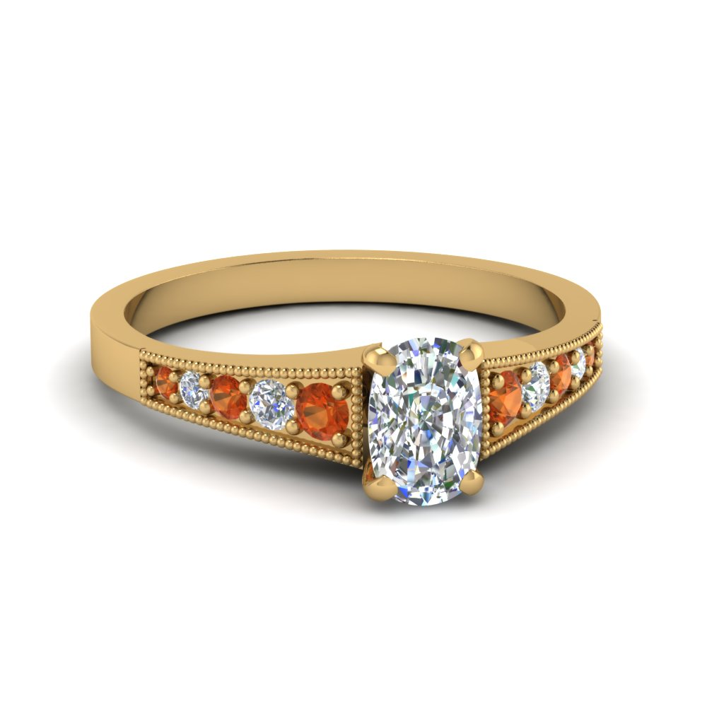 Cushion Cut Diamond Orange Sapphire Ring
