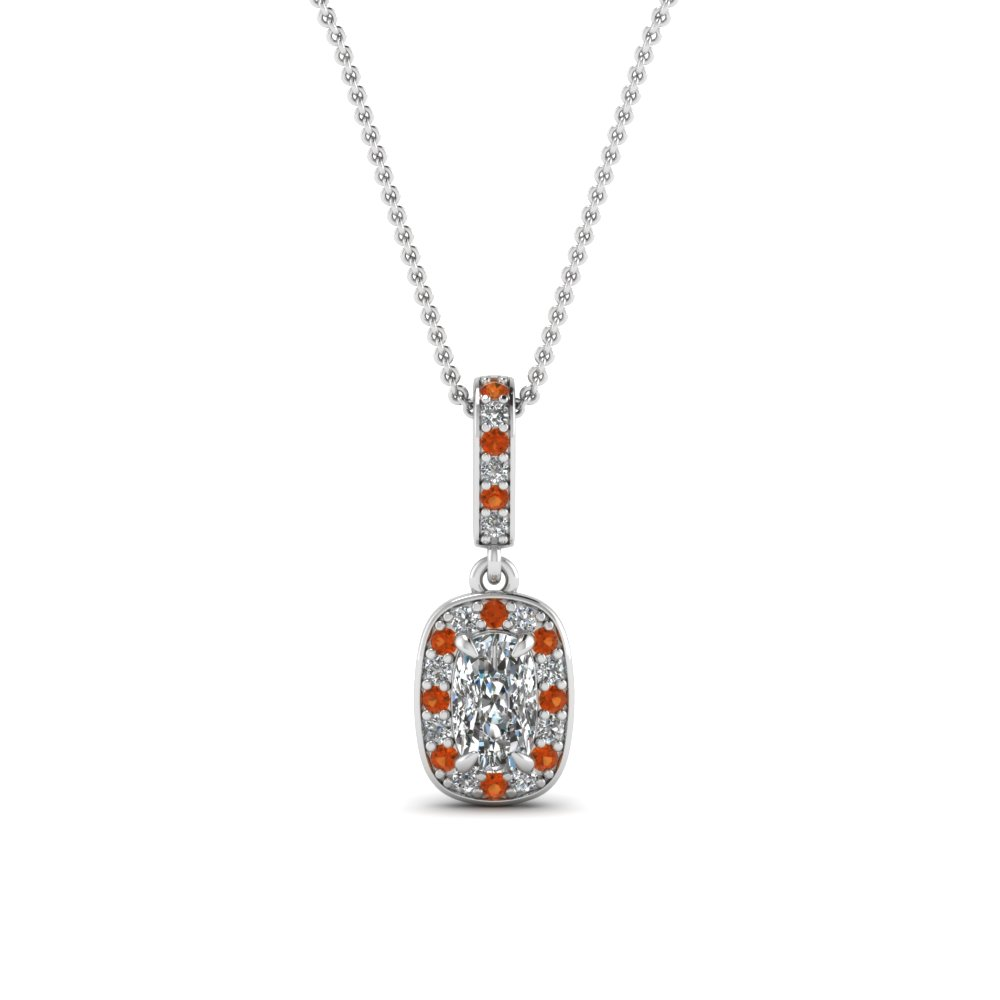 halo cushion diamond pendant with orange sapphire in 14K white gold FDPD85656CUGSAOR NL WG