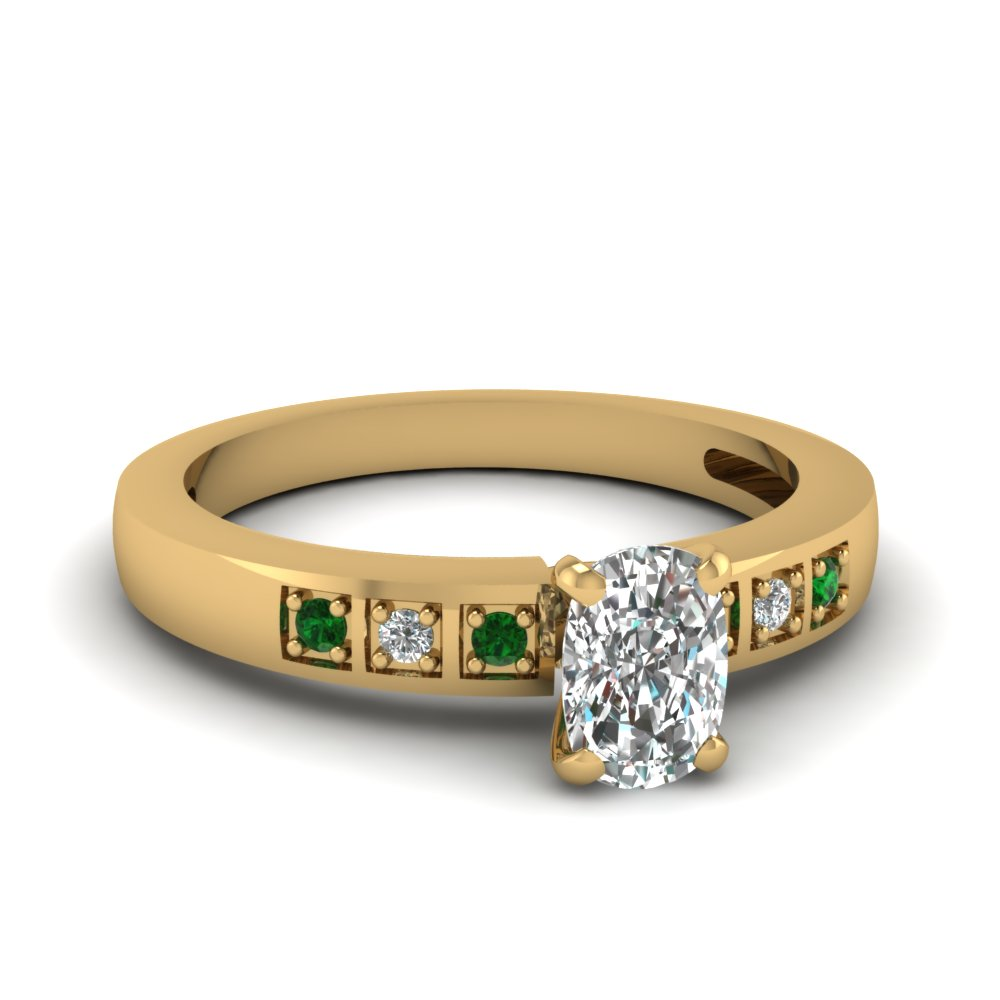 cushion cut pave accent diamond engagement ring with emerald in 14K yellow gold FDENS3091CURGEMGR NL YG