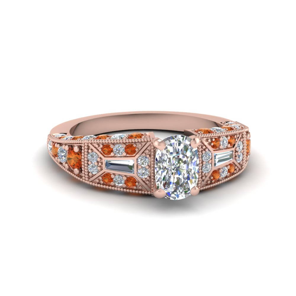 cushion cut victorian vintage style diamond engagement ring with orange sapphire in FDENR8601CURGSAOR NL RG
