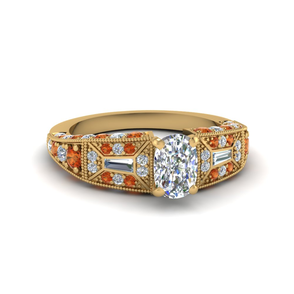 cushion cut victorian vintage style diamond engagement ring with orange sapphire in FDENR8601CURGSAOR NL YG